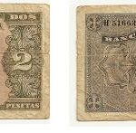 Billete dos pesetas. Burgos 1938