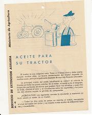 Ministerio de Agricultura. Aceite para su tractor. 1960