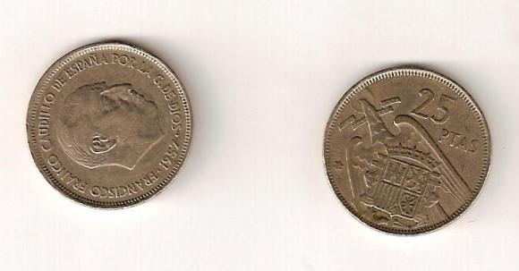 Moneda de 25 ptas. Franco 1957. 5_29 €