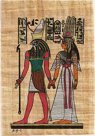 Nefertaria acompañada por Horus, caminando hacia el más allá.