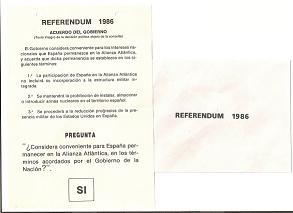 Papeleta Referendum OTAN 1986 con el sobre