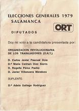 Papeleta elecciones Generales 1979. Diputados Salamanca. Partido ORT