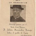 Pequeño díptico In Memoriam Cura Párroco. Espeja 1954