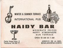 Publicidad Haidy Bar. Benalmadena. 1980
