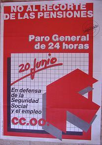 Cartel CC.OO. No al recorte de las pensiones. 1985