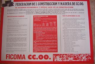 Cartel informativo. La Federación de I, construcción y Madera ante el AES. 1984