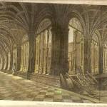Reproducción de grabado Dibujo de Antonio herbert. 1886. Claustro del Convento de San Esteban. Salamanca