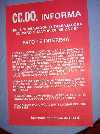 Cartel CCOO 55 años