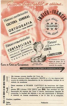 Publicidad cursos ccc años 50