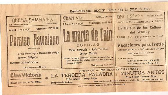Publcidad cine 1970
