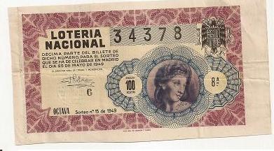 Lotería nacional 25 de mayo de 1949 34378