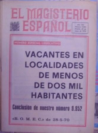Revista EL MAGISTERIO ESPAÑOL,30 de mayo de 1970