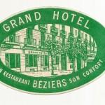 Antigua Etiqueta Grand Hotel, Beziers