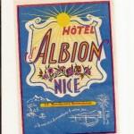Antigua Etiqueta de Hotel Albion, Nice