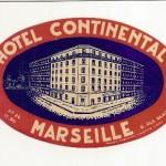 Antigua Etiqueta de Hotel Continental, Marseille