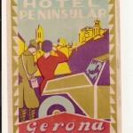 Antigua Etiqueta de Hotel Peninsular, Gerona