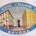 Antigua etiqueta Societa Aziende Alberghiere Riunite, Savona