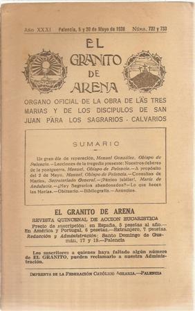 EL GRANITO DE ARENA AÑO XXXI, Palencia, 5 y 20 de Mayo de 1938,