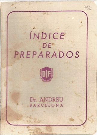 Indice de preparados, Dr. Andreu Barcelona