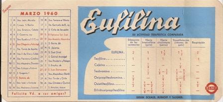 Papel secante Eufilina, Calendario marzo 1960