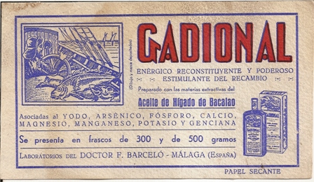 Papel secante Gadional, aceite de higado de bacalao