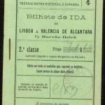 Billete Ferrocarril Portugues, Lisboa- Valencia de Alcantara