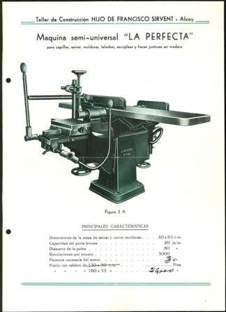 Lámina de máquina Semi Universal La Perfecta, Hijo de Francisco Sirvent, Alcoy