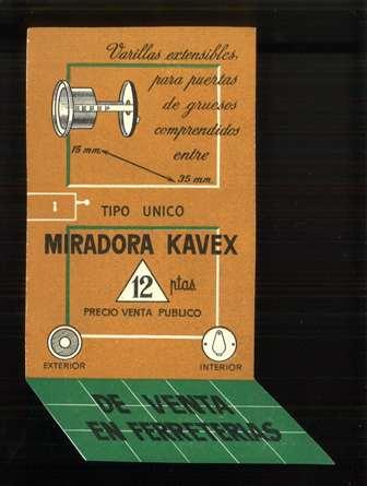 Publicidad miradora Kavex. Mirilla para puerta