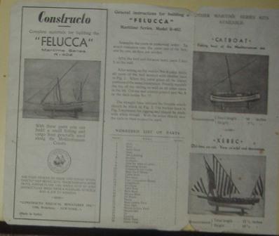 Folleto en inglés de miniatura de Barco, Costructo Felucca