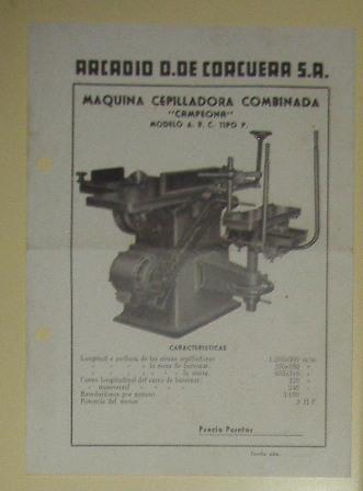 Lámina Máquina Cepilladora Combinada, Arcadio D. De Corcuera S.A.