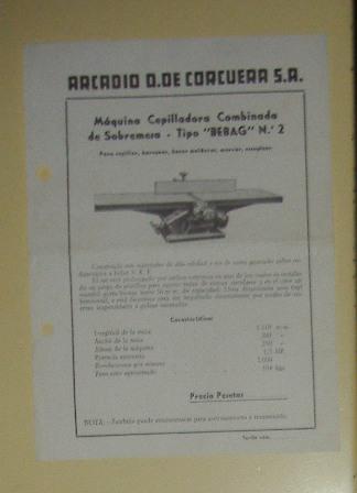 Lámina Máquina Cepilladora Combinada de sobremesa, Arcadio D. De Corcuera S.A.