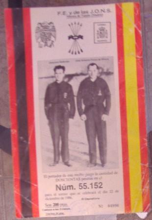 Lotería F.E. y de las J.O.N.S Morata de Tajuña, 22 diciembre 1986