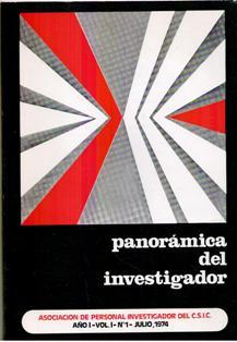 Panorámica del investigador Año I, volumen 1, Nº 1, juli 1974