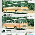 Cuatro billetes de Autobús RENFE, años 80