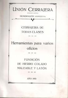 Unión Cerrajera, Mondragón, Catálogo 1921