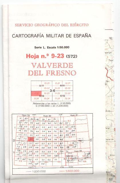 Cartografía Militar de España Escala 1 50.000, Valverde del Fres