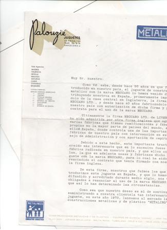 Carta comercial Palouzie Juguetes, sobre el Meccano