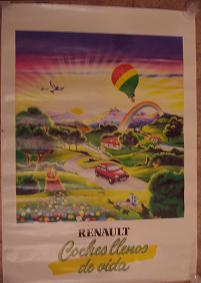 Cartel publicitario Renault. Coches llenos de vida.