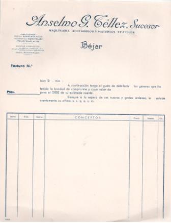 Lote 15 facturas en blanco, sin cumplimentar Anselmo G. Téllez S